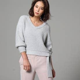 アンタイトル UNTITLED 【洗える】ラスタモール裾ベルトニットプルオーバー (ライトグレー)