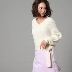 アンタイトル UNTITLED 【洗える】ラスタモール裾ベルトニットプルオーバー (オフホワイト)