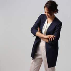 アンタイトル UNTITLED 【洗える】マリーニグリーンストレッチロングジャケット (ネイビー)