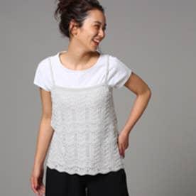 アンタイトル UNTITLED Tシャツ×ニットキャミセット (ライトグレー)