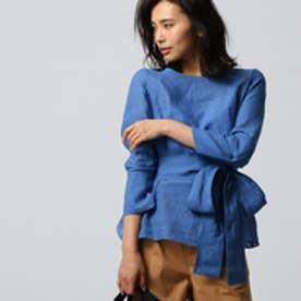 アンタイトル UNTITLED [L]【洗える】ゴンマートサフィランシャーリング袖ブラウス (ブルー)