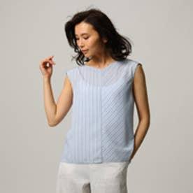 アンタイトル UNTITLED [L]【洗える】ストライプ切り替えシャツ (サックス)
