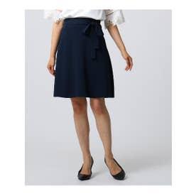 アンタイトル UNTITLED 【洗える】共布リボン付Aラインフレアスカート (ネイビー)