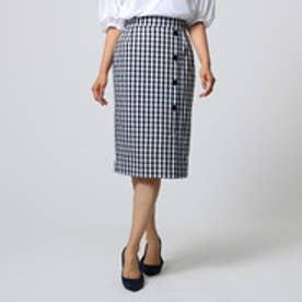 アンタイトル UNTITLED ギンガムボタンスカート (ブラック)