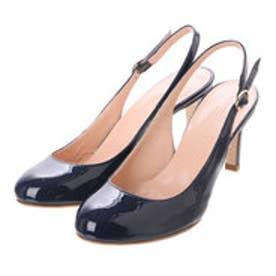 銀座ワシントン ワシントン靴店 LORENA PAGGI 389-61903 エナメルバックベルトパンプス (ネイビー)