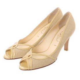 銀座ワシントン ワシントン靴店 SALON DE WASHINGTON 384-S7100 チュール&麻素材の夏パンプス (ベージュ)