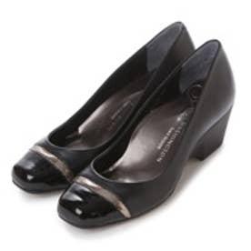 銀座ワシントン WASHINGTON Foot Happy エナメルトゥキャップ快適パンプス (ブラック)