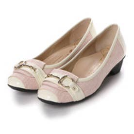 銀座ワシントン WASHINGTON Foot Happy ゴールドバックルのミニヒールパンプス (ピンク)