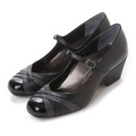 銀座ワシントン WASHINGTON Foot Happy 異素材ミックスの快適パンプス (ブラック)