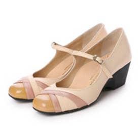 銀座ワシントン WASHINGTON Foot Happy 異素材ミックスの快適パンプス (ピンク)