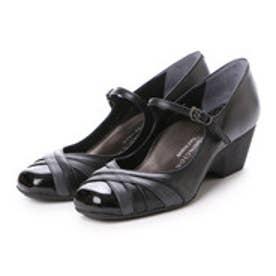 銀座ワシントン WASHINGTON【大きめサイズ】 Foot Happy 異素材ミックスの快適パンプス (ブラック)
