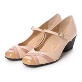 銀座ワシントン WASHINGTON【大きめサイズ】 Foot Happy 異素材ミックスの快適パンプス (ピンク)