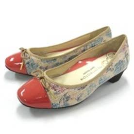 銀座ワシントン WASHINGTON Foot Happy 320-F23205 コンフォート仕様のリボン付きローヒールパンプス (ピンク)
