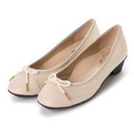銀座ワシントン WASHINGTON Foot Happy 320-F23201 3.5cmミニヒールラウンドパンプス (ベージュ)