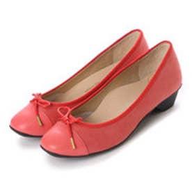 銀座ワシントン WASHINGTON Foot Happy 320-F23201 3.5cmミニヒールラウンドパンプス (レッド)