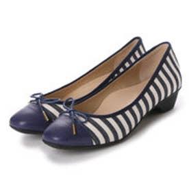 銀座ワシントン WASHINGTON Foot Happy 320-F23201 3.5cmミニヒールラウンドパンプス (ブルー)