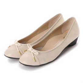 銀座ワシントン WASHINGTON Foot Happy 320-F23201L 3.5cmミニヒールラウンドパンプス (ベージュ)