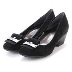 銀座ワシントン WASHINGTON Foot Happy 320-F25109AL バックル付きちんとパンプス (ブラック)