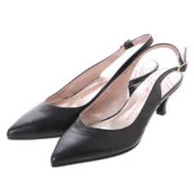 銀座ワシントン ワシントン靴店 WASHINGTON 327-15103 ポインテッドトゥのバックベルトパンプス (ブラック)