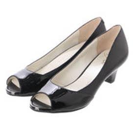 銀座ワシントン ワシントン靴店 WASHINGTON 350-84595 エナメルコンビのオープントゥパンプス (ブラック)