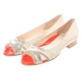 銀座ワシントン ワシントン靴店 WASHINGTON 323-91204 オープントゥのフラットヒールパンプス (ゴールド)