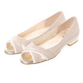 銀座ワシントン ワシントン靴店 WASHINGTON 323-91204 オープントゥのフラットヒールパンプス (ベージュ)