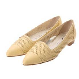 銀座ワシントン ワシントン靴店 WASHINGTON 323-91203 パンチング素材のポインテッドフラットシューズ (イエロー)