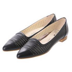 銀座ワシントン ワシントン靴店 WASHINGTON 323-91203 パンチング素材のポインテッドフラットシューズ (ブラック)