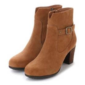 銀座ワシントン 853-46401太ヒールのショート丈ブーツ (キャメル)