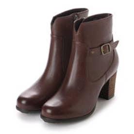 銀座ワシントン 853-46401太ヒールのショート丈ブーツ (ダークブラウン)