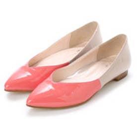 銀座ワシントン 323-91703L ポインテッドエナメルフラットシューズ (ピンク)