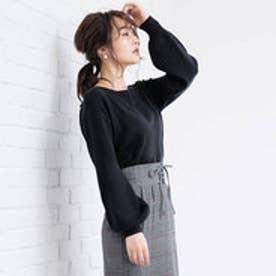 ユメテンボウ 夢展望 バルーン袖ニットトップス (ブラック)