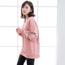 ユメテンボウ 夢展望 ロング袖ロゴプリントパーカー (ピンク)