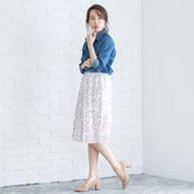 ユメテンボウ 夢展望 選べる3丈プリーツスカート (花柄ホワイトA)