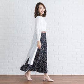 ユメテンボウ 夢展望 選べる3丈プリーツスカート (花柄ネイビーA)