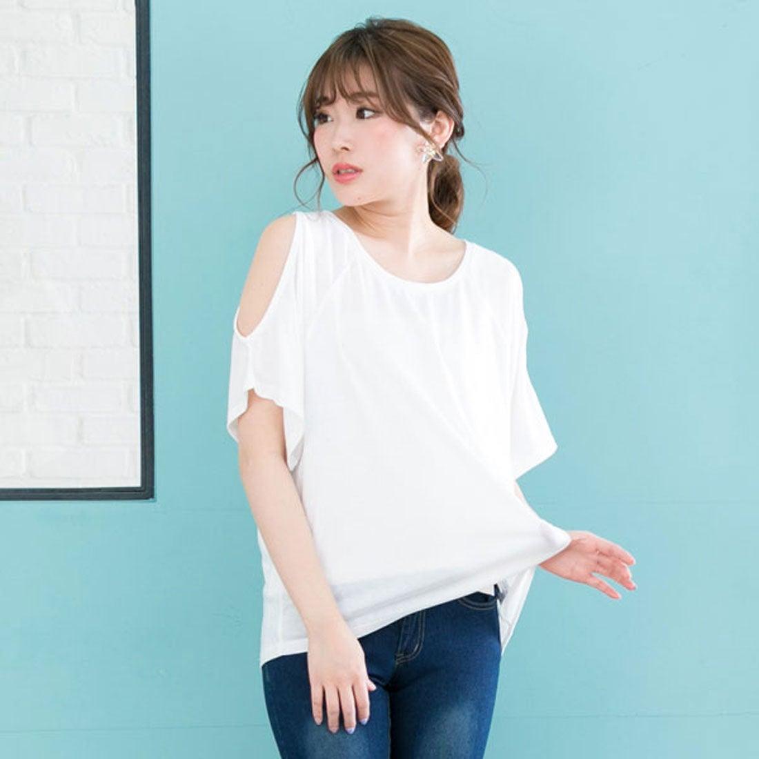 ユメテンボウ 夢展望 ワンショルダーor肩開きTシャツ (ホワイト(肩開き))