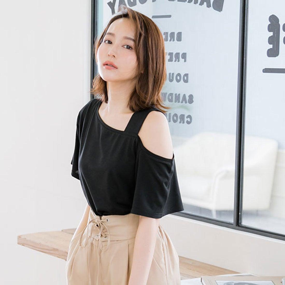 ユメテンボウ 夢展望 ワンショルダーor肩開きTシャツ (ブラック(ワンショル))