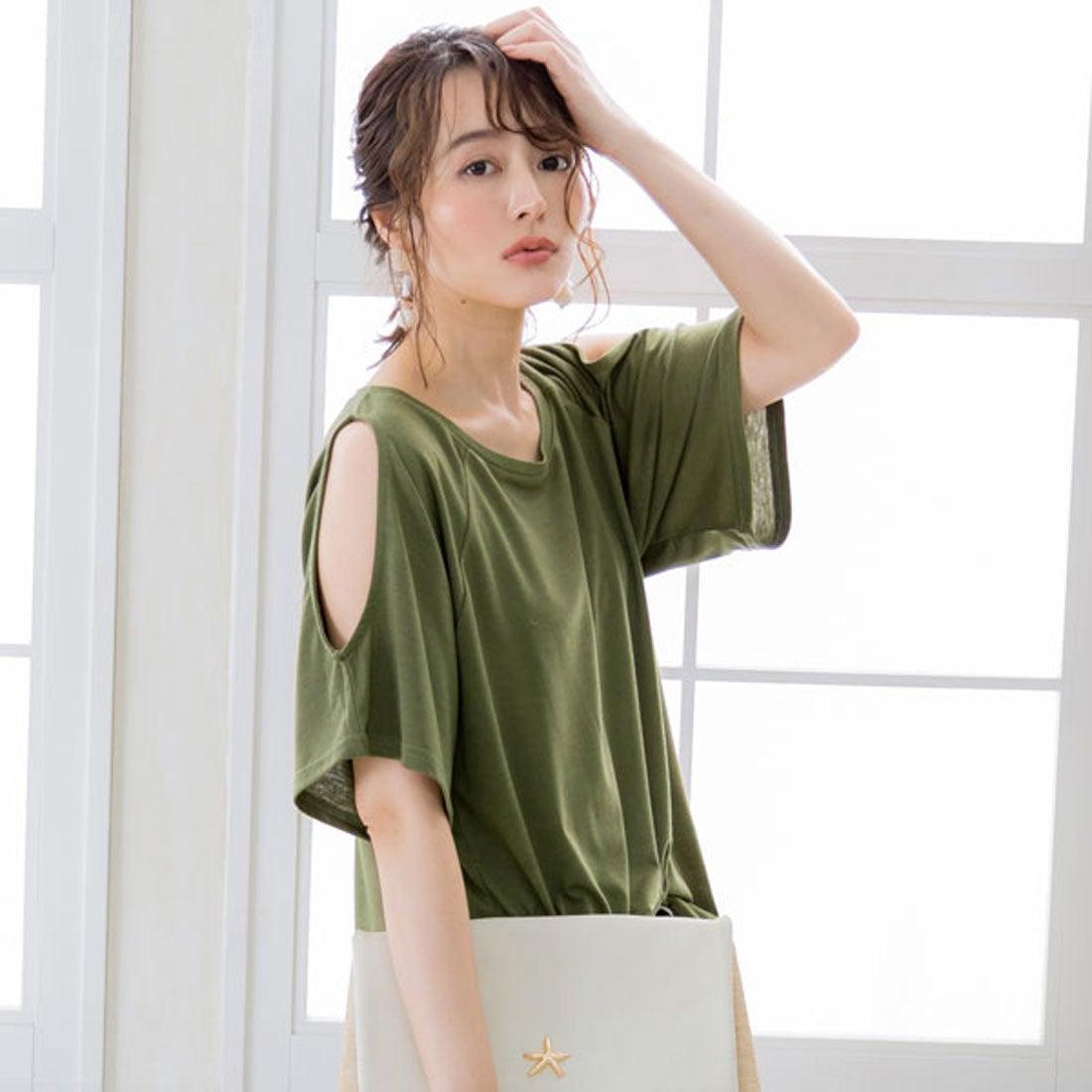ユメテンボウ 夢展望 ワンショルダーor肩開きTシャツ (カーキ(肩開き))
