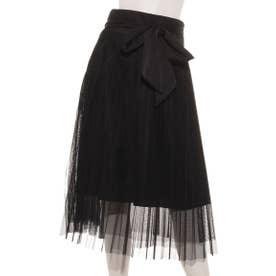 チュールプリーツスカート (ブラック)