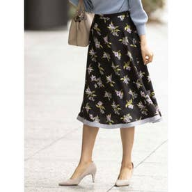 裾配色花柄フレアスカート (ブラック)