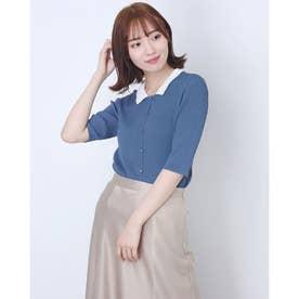 衿付き5分袖リブニットカーディガン (ブルー)