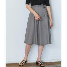 リネンライクサイドベルトアシメデザインスカート (ブラウン)