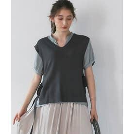 半袖衿2way割繊ジョーゼットブラウス (ミント)