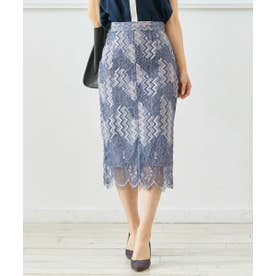 スカラップ配色レースタイトスカート (ブルー)