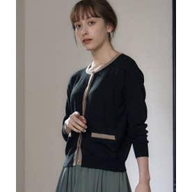 クルーネック配色ニット (ブラック)