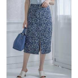 ゴブラン調ジャガードタイトスカート (ネイビー)