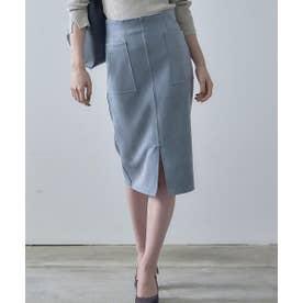 フェイクスエード両ポケタイトスカート (ブルー)