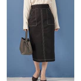 【asamiffee Special Collaboration】サイドベルトステッチデザインタイトスカート (ブラック)