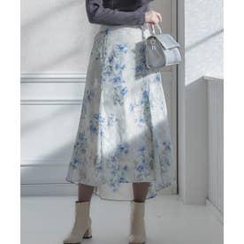 シアージャガード花柄マーメイドスカート (グレージュ)