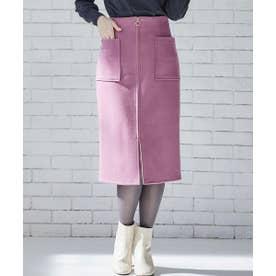 ウール両ポケタイトスカート (ピンク)